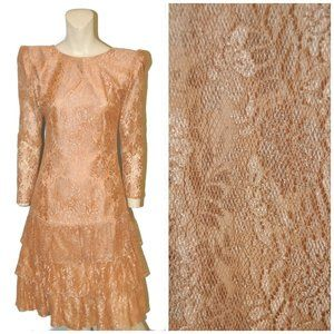 Vintage Long Sleeve Lace Dress Pointy Shoulders